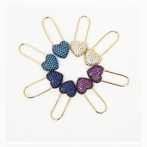 Rhinestone Heart Paper Clip Earrings